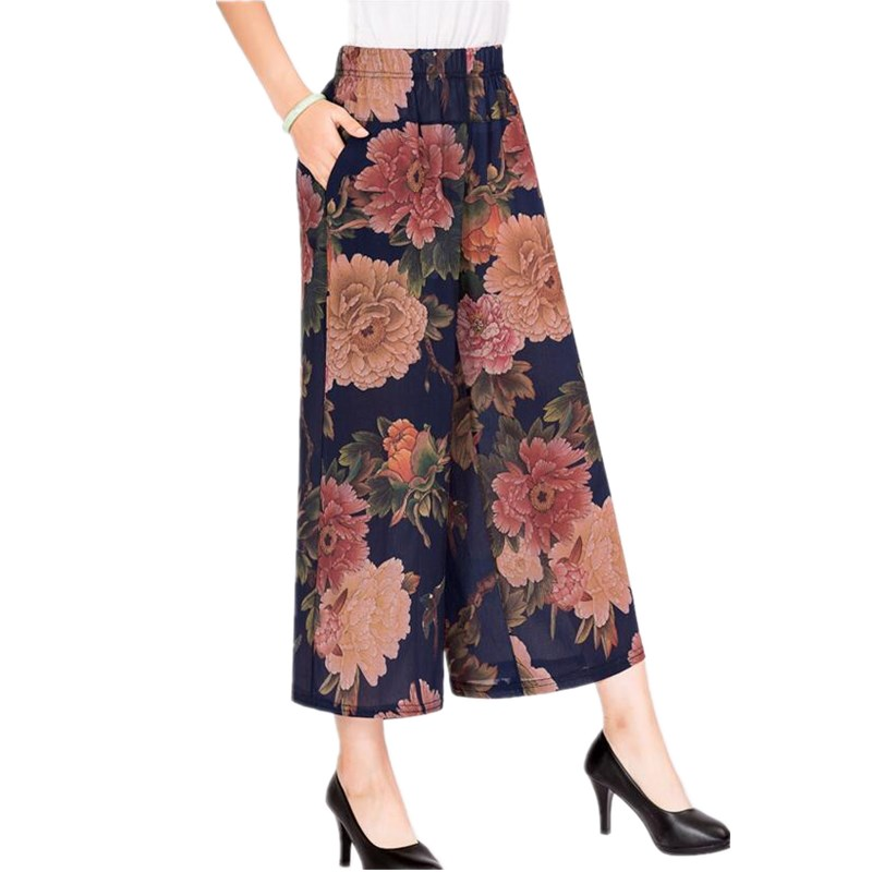 2019 Summer Women Wide Leg   Pants     Capris   Female Elastic High Waist Casual   Pants   Print Floral Plus Size   Pants   Women Trousers S365
