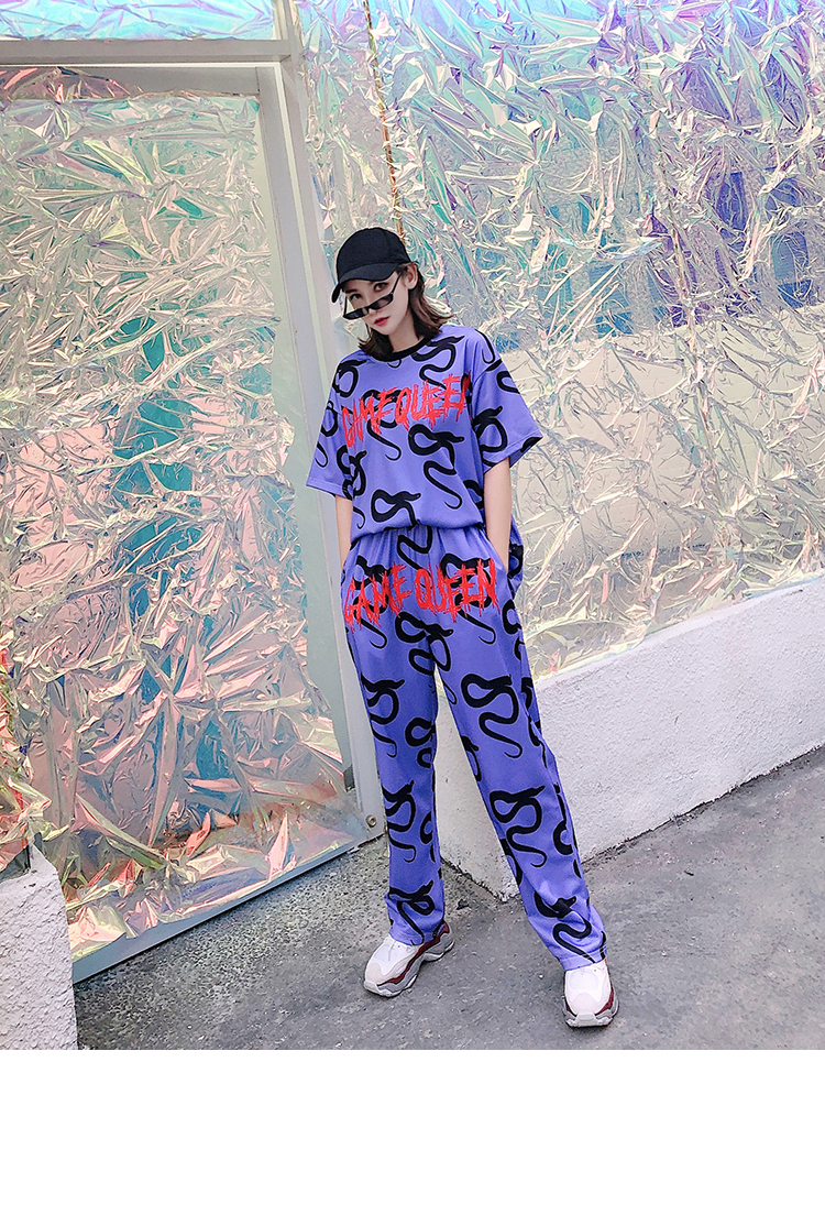 Cartoon Printing Short Sleeve Pullovers+Elastic Waist Long Pants Women Casual Track Suit 2pcs Novelty T Shirt+Sports Trousers-in Pants & Capris from Women's Clothing    1