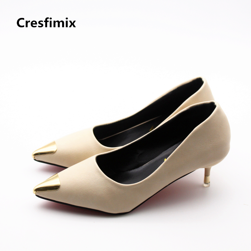 Cresfimix women fashion spike 5cm high heel party shoes lady sexy night club high heels female casual office pu leather shoes cresfimix women fashion