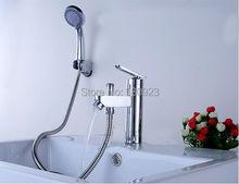 Новый американский бесплатная доставка современная бассейна раковина кран хромированная отделка мульти-карман fonction Bathroon кран вт / ручной душ смесителя на бортике