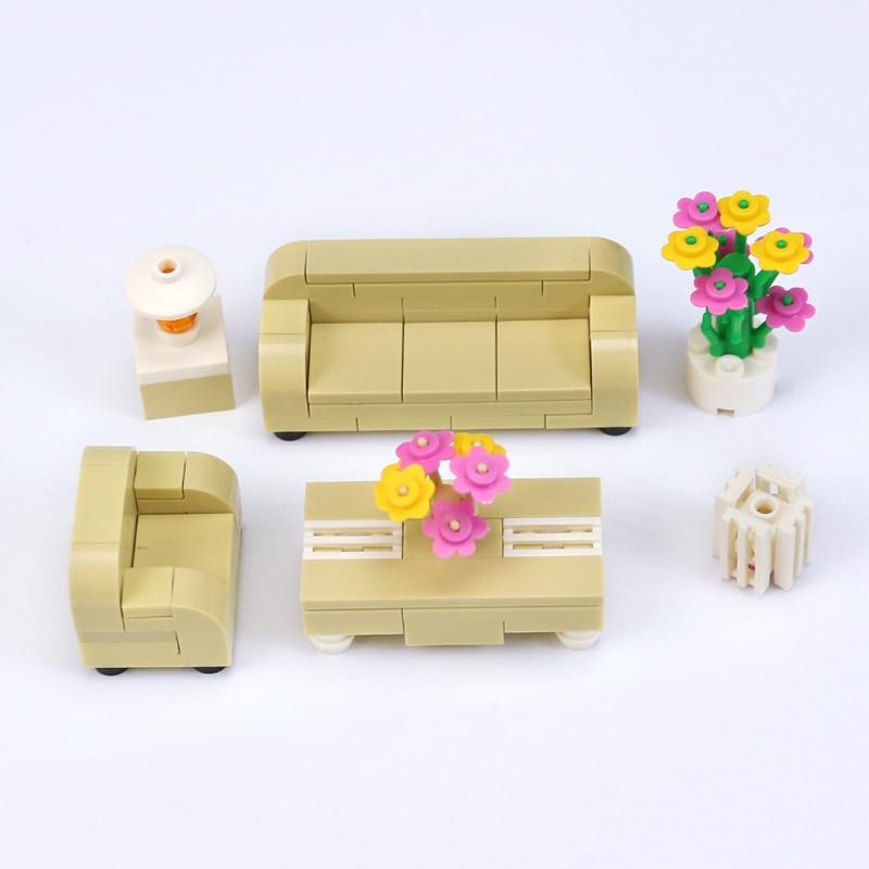 1 Set City Series Sofa Tea Table Set MOC Home Furniture Flowers font b Model b