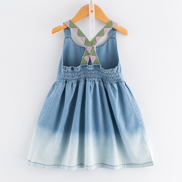 New Girls Dress 2018 Casual Summer Style Bull-puncher Dresses Cotton Kids Clothes Backless Denim Dress  Shoulder-Straps 3-7Y
