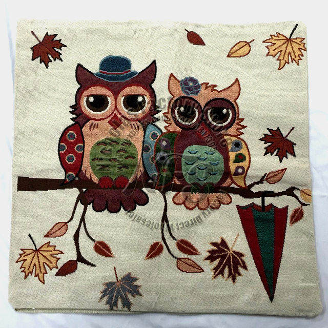 Embroidered Owl Pillowcase – 45x45cm