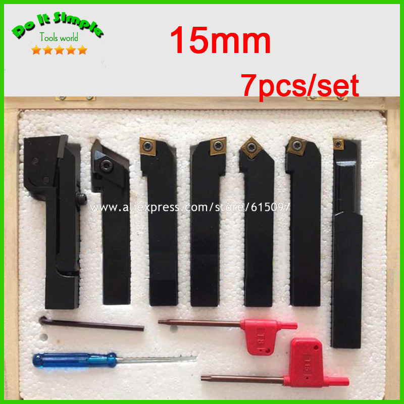 7pcs/set 15mm Hard Alloy Blade with Coating Turning Tool, CNC Lathe Tool Kits Cutter , Durable Cutting Tools free shipping of 1pc hard steel alloy made un 1 15 16 8 american standard die threading tool lathe model engineer thread maker