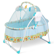 European Style Baby Crib Multifunctional Folding Baby Bed Electric Rocking Cradle For Newborns Remote Control Baby Swing C01