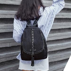 Image 2 - QINRANGUIO Genuine Leather Backpack Tassel Women Backpack 2020 New Design Chains School Backpacks for Teenage Girls Mochila