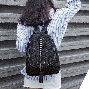 Image 2 - QINRANGUIO Mochila de piel auténtica con borlas para mujer, morral escolar con cadenas de diseño, para adolescentes, 2020