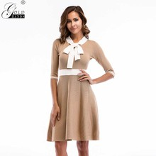 bc6d57f72bb4 Gold Hands Knitted Dress Women Slim Casual Half Sleeve Sweater Dresses  A-line