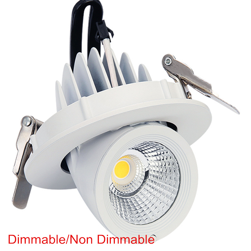 Dimmable LED downlight 10W 15W 25W 30W adjustable 360 Degree led light 3000K/4000K/6000K Recessed Trunk downlight AC85-265V triac dimmable 0 10v dimmable dali dimmable 130lm w 50w gimbal downlight 360 degree recessed ceiling led lights 12pcs lot