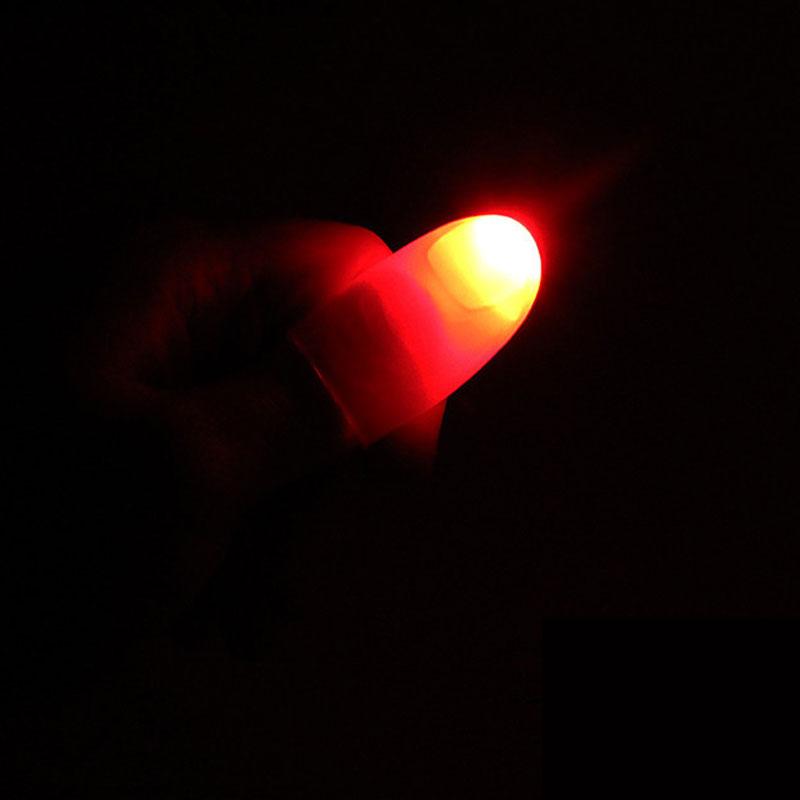 1 Pair Funny Novelty LED Light Flashing Fingers Magic Trick Props Kids Amazing Fantastic Glow Toys Children Luminous Gifts Decor
