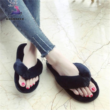 7d3e5a47118f Creative Womens Slippers Casual Imitation Fur Plush House Spa Flip Flops  Slippers Sandal Soft Sole Shoes