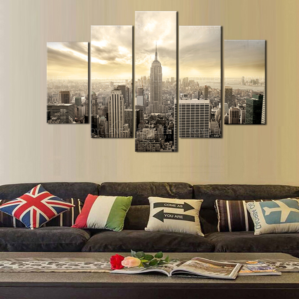 compare prices on state picture online shopping buy low price 5 pieces set new york empire state building poster wall art pictures for living room