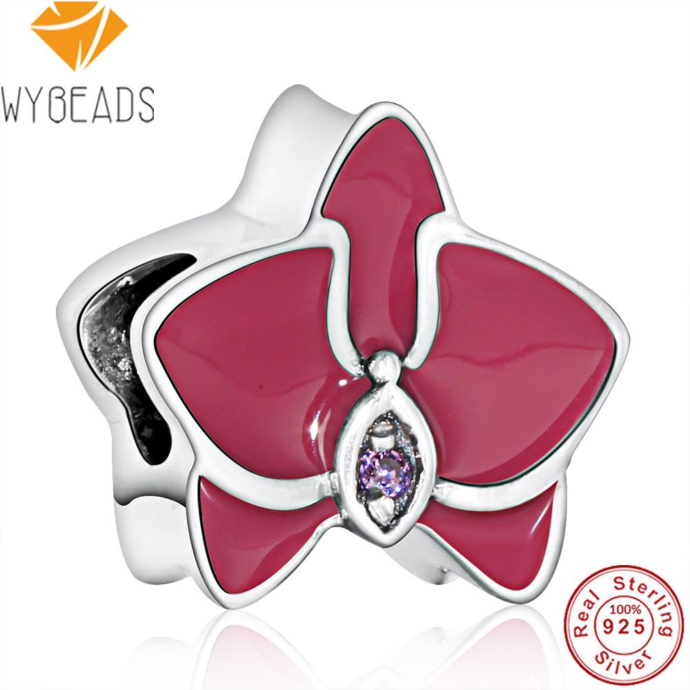 WYBEADS 925 Sterling Silver Radiant Orchid Charms Purple & White Enamel CZ European Bead Fit Bracelet DIY Accessories Jewelry