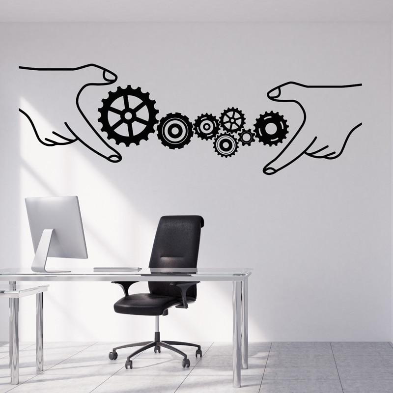 Vinyl Wall Sticker Gears Office Style Business Teamwork DIY Home Decoration Living room Bedroom Art Murals JG2746