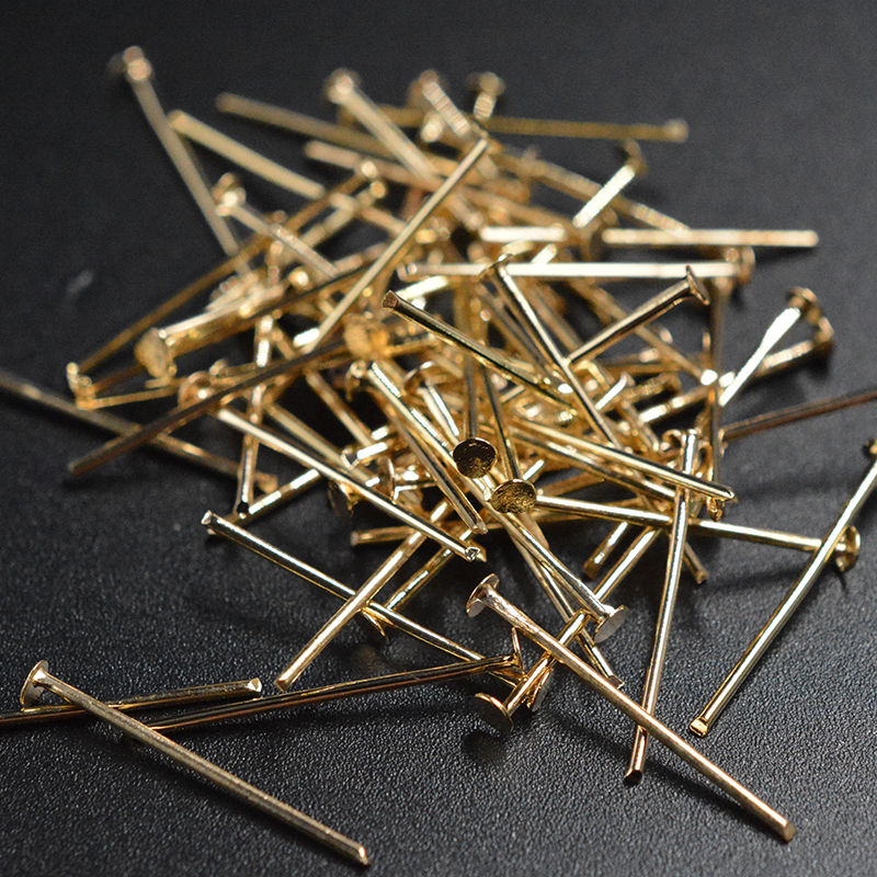 FLTMRH 50pcs 70x0.7mm   Flat Head Pins Eveelry Making Stud Needles Earrings Crimps Choker Clasp Hook Bracelet Connctor Kit
