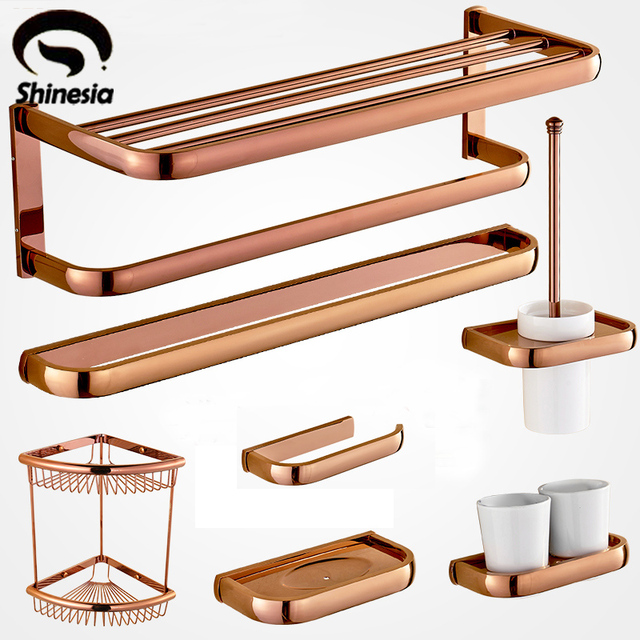 Rose Gold Solid Brass Towel Rack Bath Toilet Paper Holder Toothbrush Bathroom  Accessories