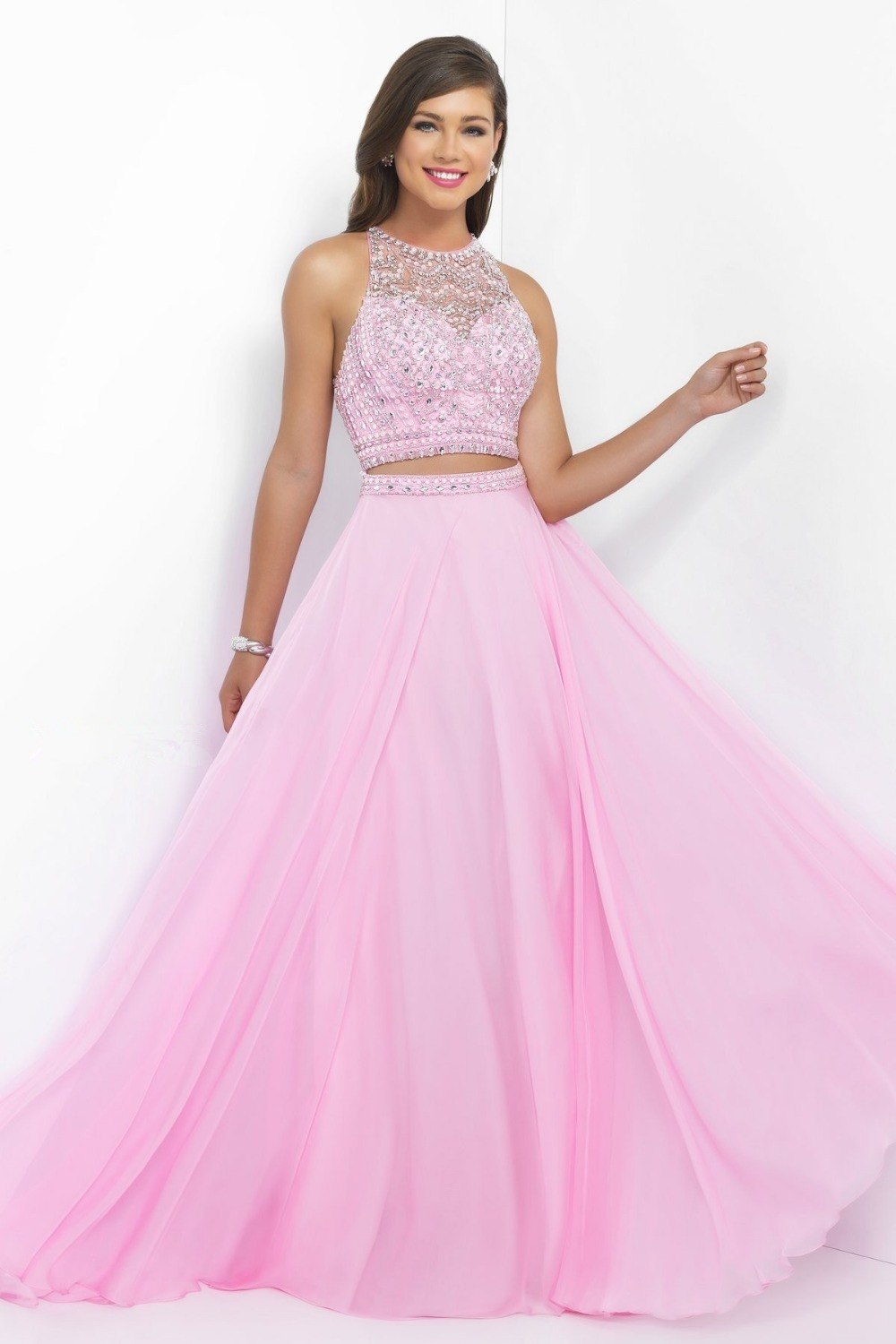 New Design Pink Two Pieces Sex Halter Prom Dresses 2016 -4437