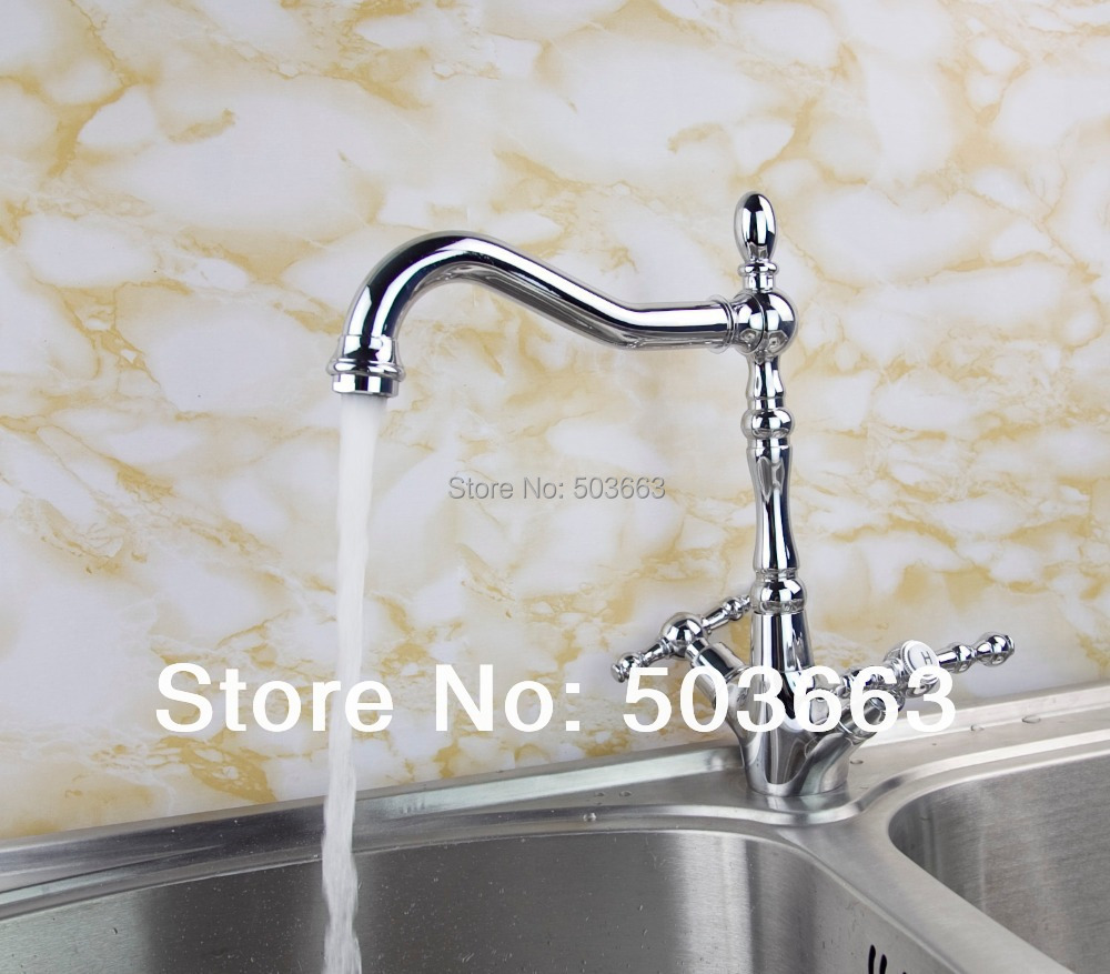 цена на 8632-9/3 Modern Swivel Chrome Brass Kitchen Faucet Spout Vessel Basin Sink Double Handles Deck Mounted Mixer Tap Faucet