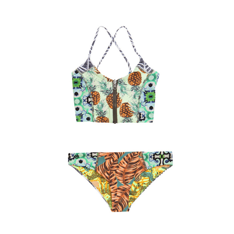 2017 Sexy Pineapple Print Bikinis Zipper Push Up Padded Swimwear Women Crop top Swimsuit Brazilian Bikini