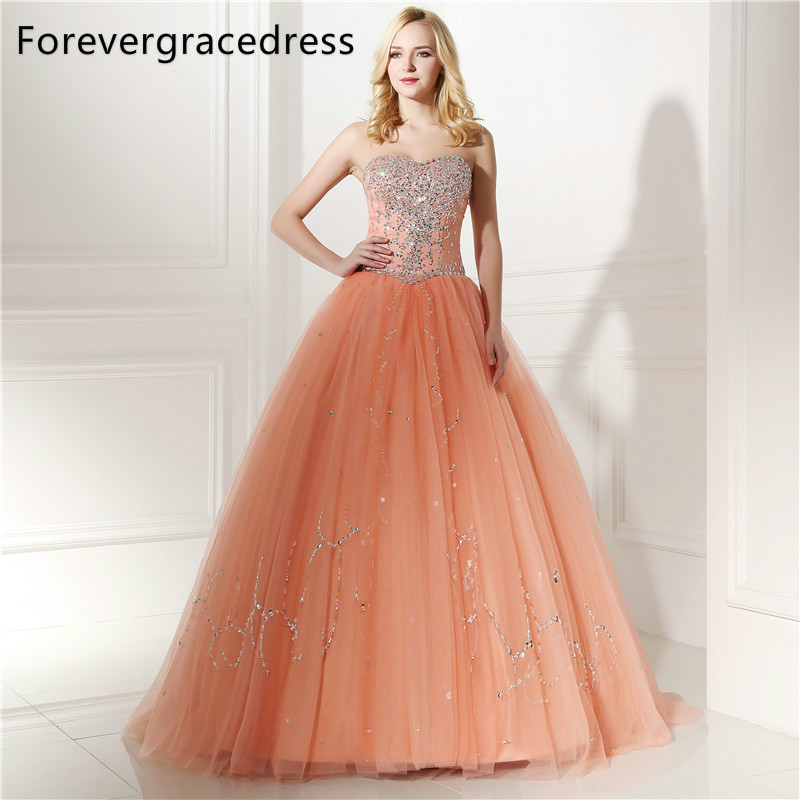 Forevergracedress Real Images Peach Color Quinceanera Dress New Sweetheart Long Beaded Backless Formal Party Gown Plus Size