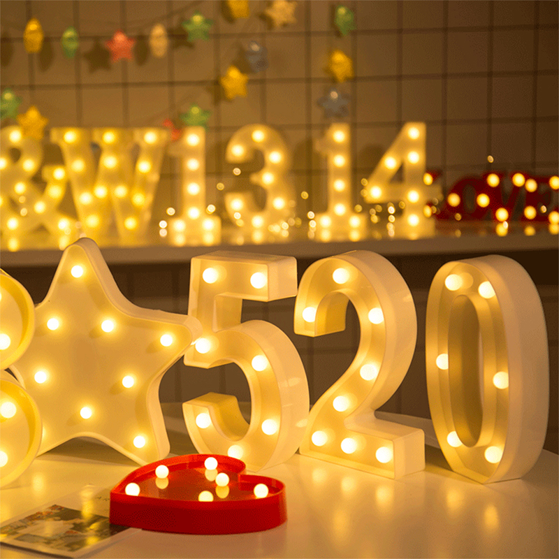 Luminous LED Letter Night Light Creative 26 English Alphabet Number Battery Lamp Romantic Wedding Party Decoration Christmas