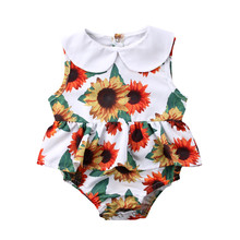 One Pieces Summer Newborn Infant Baby Girls Sunflower Ruffle Bodysuits Jumpsuit Bodysuit Outfits