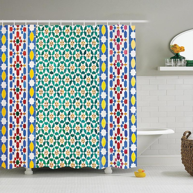 Window Curtains Treatments Geometric Decor Collection Patterns Folk ...