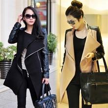 2018 Winter Fall Fashion Women Coat Patchwork Womens Long Wool Pu Leather Sleeve Jacket Windbreaker Fast Shipping
