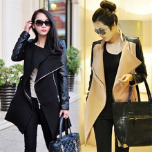 2018 Winter Fall Fashion Women Coat Patchwork Womens Long Wool Pu Leather Sleeve Jacket Coat Windbreaker Fast Shipping