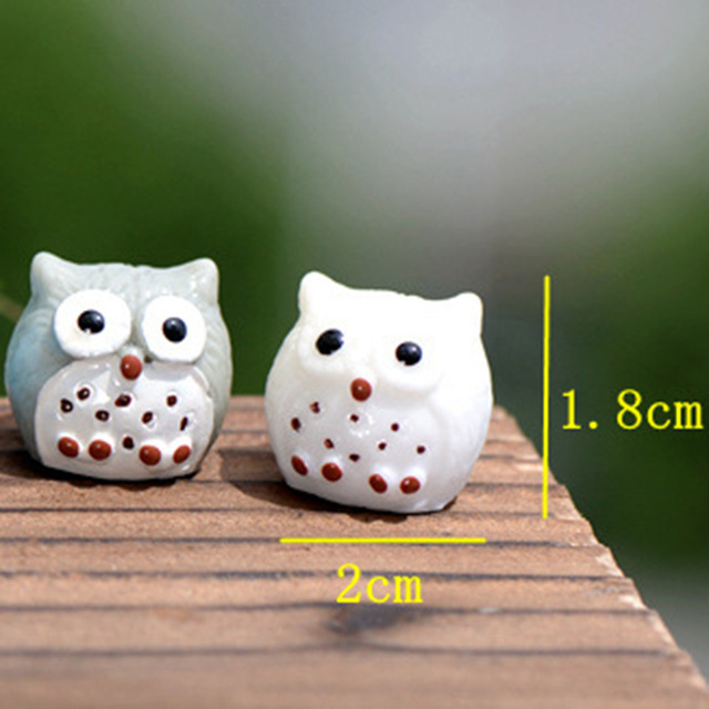 5pcs Artificial Animal Owl Miniature Fairy Garden Home Houses Decoration Mini Micro Landscaping Decor