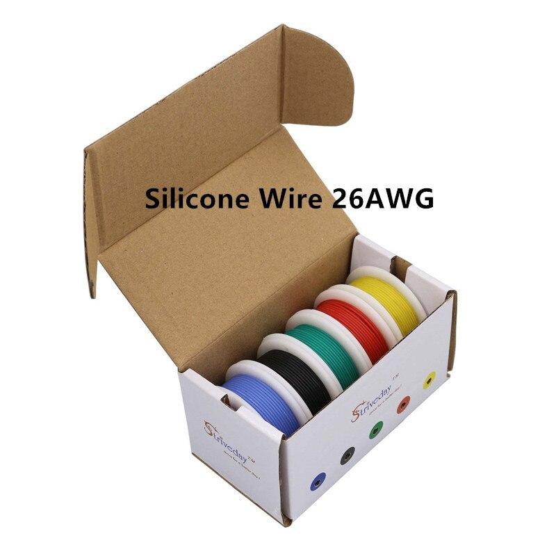 50 m/box 164ft 26AWG Flexível Encalhado Cabo de Fio de Silicone caixa de cor Mix 1 5/box pacote 2 Fio Elétrico condutor de linha de Cobre