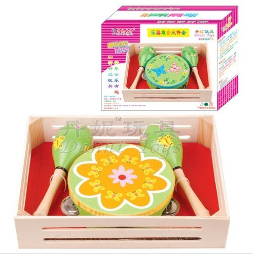 36pcs/ctn educational toys sets 3-Piece Musical Instrument Set+free custom logo