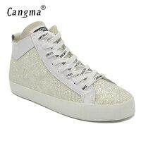 CANGMA известный стильный бренд Спортивная обувь Для женщин блестками обувь на плоской подошве классическая женская повседневная обувь блеск