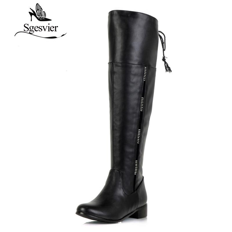 SGESVIER Women Boots Long Boots 2017 Winter New Dress Casual Over the knee Round Toe Black Shoes Low Heel Lady Shoes OX096