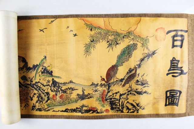 China Antique Collection Boutique Calligraphy And Painting A Hundred Birds Diagram