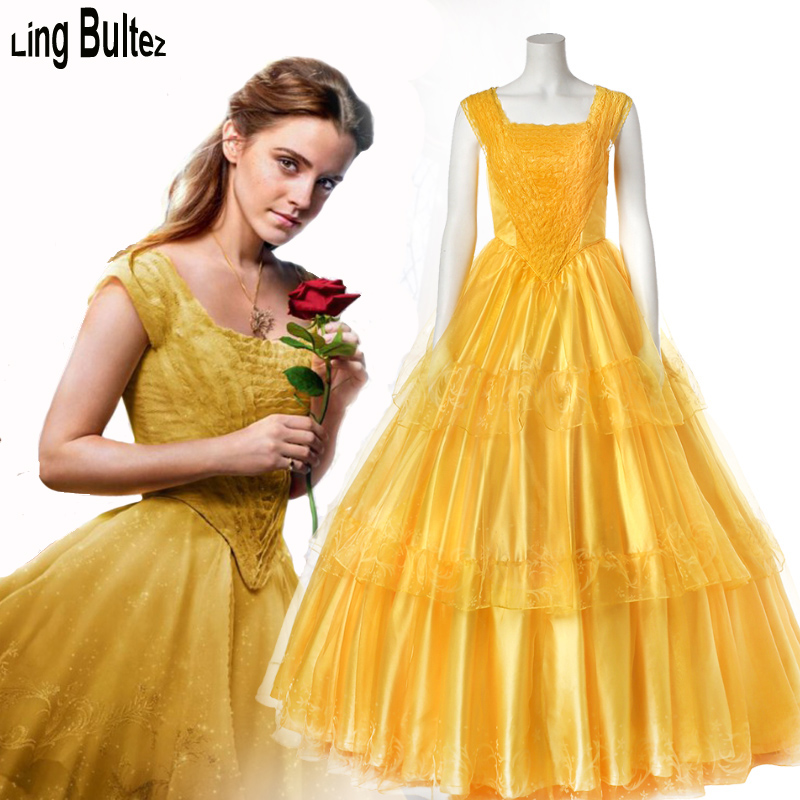 Ling Bultez High Quality Newest Princess Belle Costume Movie Beauty And Beast Cosplay Dress Belle Dress