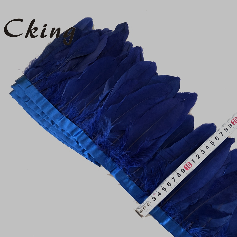 Image 2 - Free Shipping 14 Meters Multicolors Goose Feather Trimming 13  20cm Height Goose Feather Fringes on satin Ribbonsfeather fringegoose  feather trimfeather trim