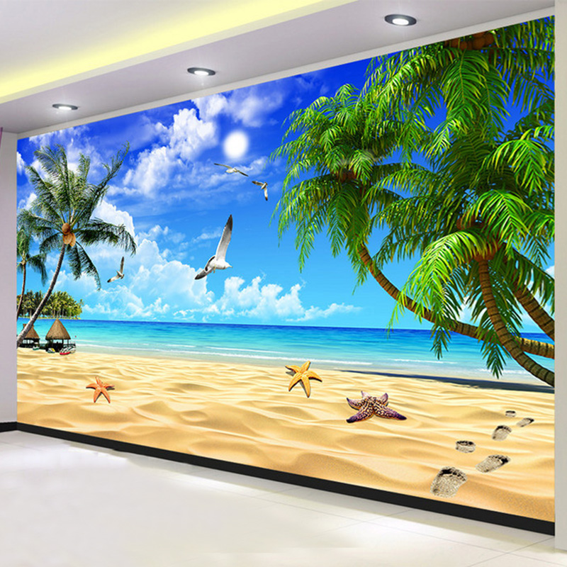 Custom 3D Mural Wallpaper Modern Beach Seaside Landscape Photo Wall Murals Living Room TV Sofa Backdrop Wall Painting Home Decor