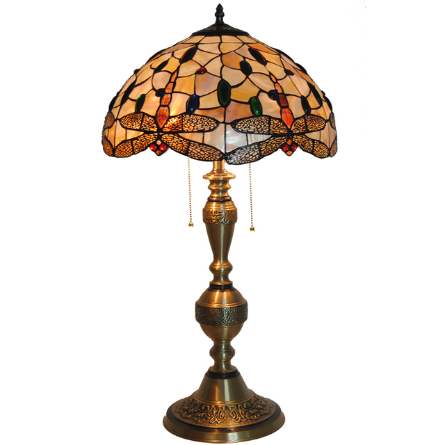 New Mediterranean Tiffany Style Dragonfly Stained Glass Table Lamp Vintage  Bronze Accent Deak Light Lobby Decor