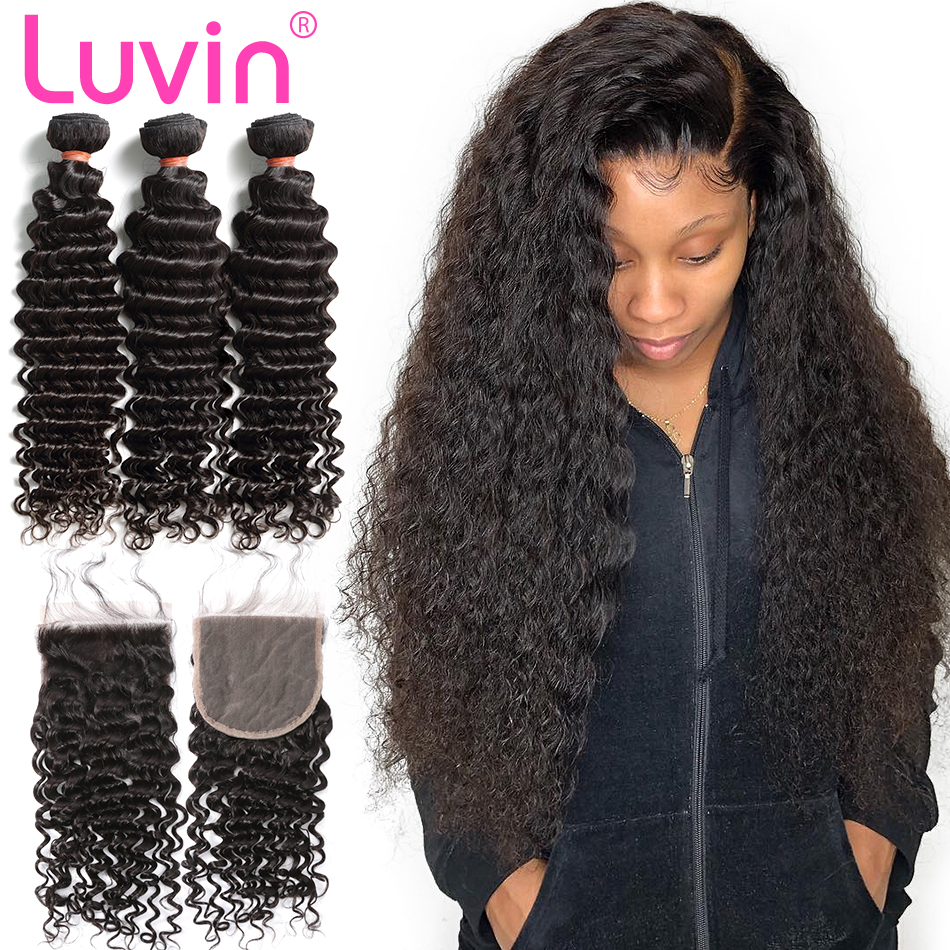 Luvin 3 4 Deep Wave Bundles With Closure Brazilian Human Hair Weave Curly Remy Hair Weaving
