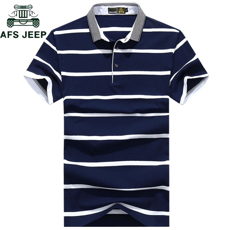 AFS JEEP Brand Striped   Polos   Shirt Men Summer Tops&Tees Casual Cotton Camisa   polo   masculina Plus SIze M-3XL   polo   hombre