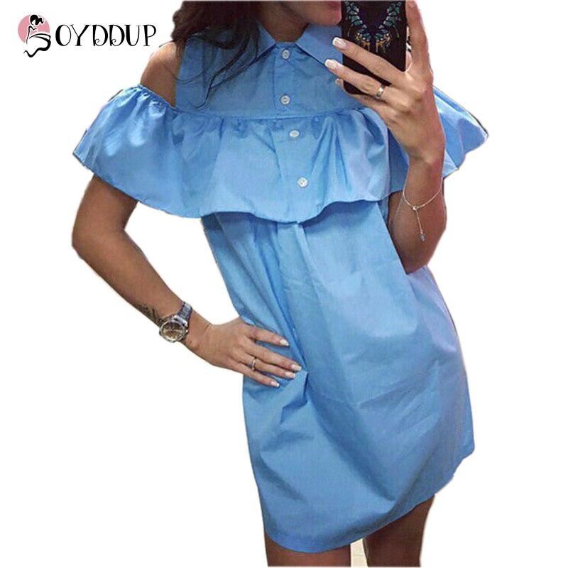 2017 Summer New Fashion Women Blue Ruffles Shirt Dress Casual Butterfly Sleeve Dress Sexy Strapless Straight Loose Dresses