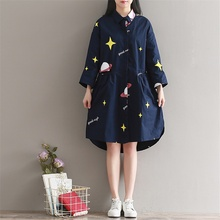 Loose Shirt Dress 2017 New Retro Shirt Collar Loose Waist Dresses Long Section Stars Printed Dress Large Size M L XL 2XL 3XL S15