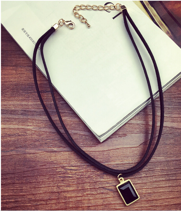 2020 New Fashion Black Leather Necklace Necklace Packing Gold Square Necklace For Female Skull Lace Hollow Out Of Jewelry|black leather necklace|leather necklacenecklace necklace - AliExpress