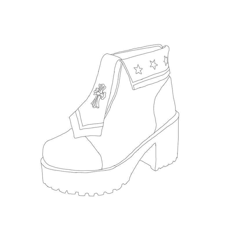 pu Couleur Glisser Noir Japonais Croix Anime Étoiles Pu8887 Punk Doux Princesse Double Marine bleu Revers rose clair Ciel Talon Cool Rouge Chaussures Locomotive Bottes HfPwvzq