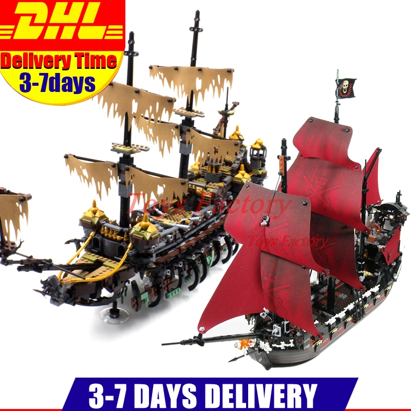LEPIN 16042 2344PCS Pirate of The Caribbean The Slient Mary Set +16009 Queen Anne's Reveage Ship Building Blocks Bricks Toys lepin 16009 caribbean blackbeard queen anne s revenge mini bricks set sale pirates of the building blocks toys for kids gift