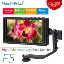 FEELWORLD F5 5 inç DSLR kamera monitörü Küçük HD Odak Video Yardımcı alan monitörü LCD IPS Full HD 1920x1080 4 K HDMI Giriş Çıkışı