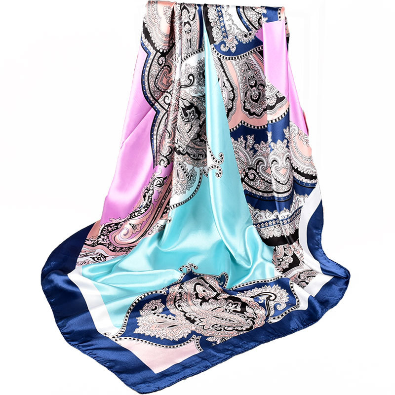 Women Chinese Style Navy Blue Pink Silk   Scarf   Shawl Winter Brand Square Satin   Scarves     Wraps   Spring Autumn Headscarves 90*90cm