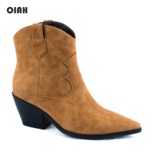 Ankle Boots for Women Autumn Winter Western Cowboy Slip on Wedge High Heel Brown Black Suede Shoes Botas