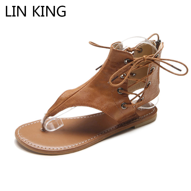 LIN KING Retro Women Gladiator Sandals Lace Up High Top Cross Tie Lady Summer Flats Shoes Comfortable Rome Sandalias Big Size 43 handmade rome gladiator sandals women flats fringed tie up woman sandals shoes fur cross strap pompom sandals sandalias mujer 94
